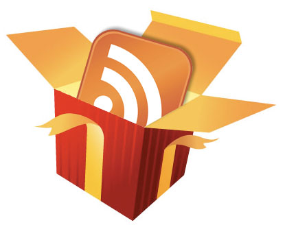 Illustration of an RSS symbol wrapped in a gift box