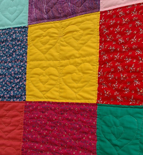 handquilting on daughters quilt