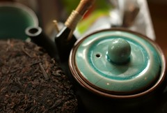 Beeng Cha teacake pu erh tea and Japanese teapot