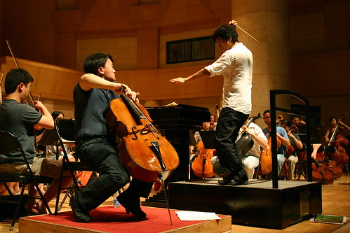 Jian Wang shown rehearsing with Shinik Hahm and the Philharmonia on Tuesday afternoon