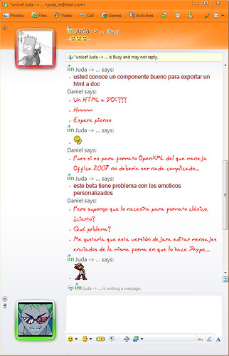 Windows Live Messenger Beta Version 2009 Conversación