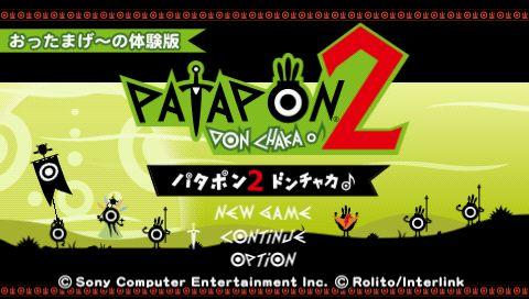 Tampilan menu utama Patapon 2 Donchaka