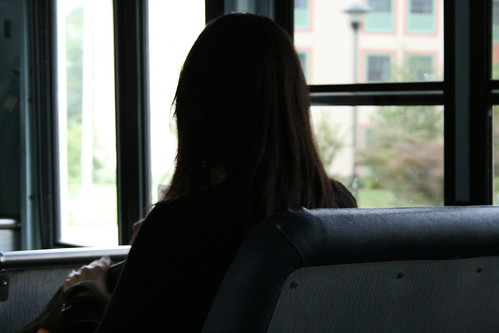 blind woman on bus