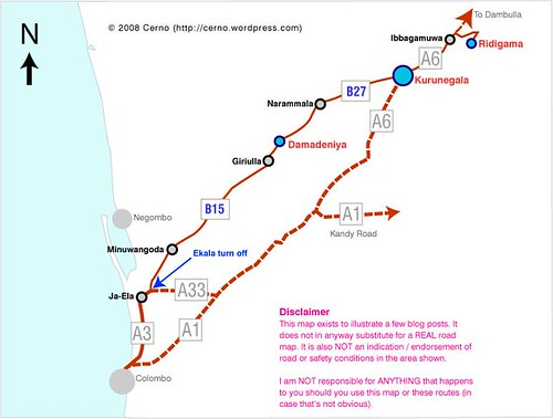 Route to Ridi Vihare via Colombo - Kurunegala