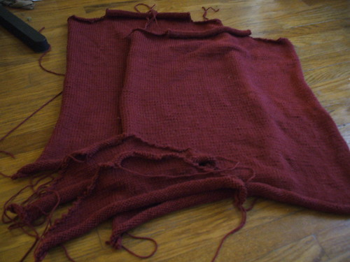 Mom's sweater in pieces