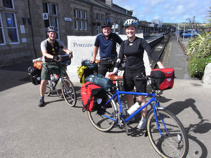 Us at the very begining of the trip outside Penzance train station. Photo taken by a guy we met who had just finished John OGroats to Landsend, for the second time in as many years.