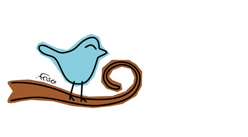 ilustração estilizada do passarinho azul do twitter