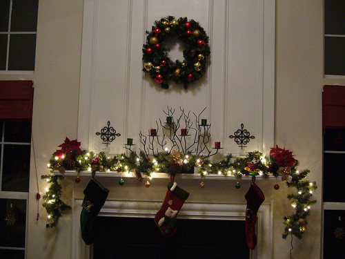 The mantle with our stockings. Buffy gets one too!