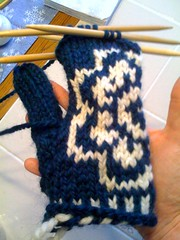 Plum blossom mitts WIP