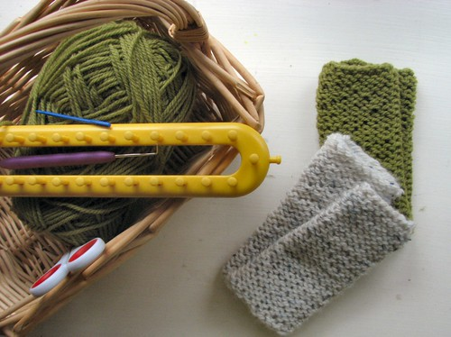 Two pairs of fingerless mitts for two boys