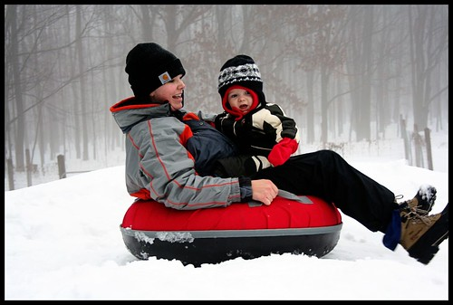 Mom and C Sledding 3