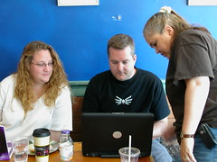 Leslie, Kirk, and Deb at NH Media Makers (by mrjohnherman)