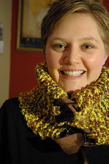Yellow and Jewel Toned Cowl - Neckwarmer - Hand Knit