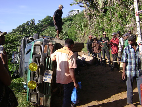 An over-turned truck we encountered on the road to Tamatave.