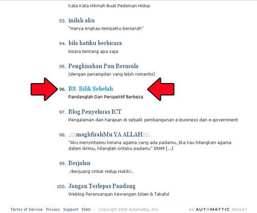 BilikSebelah on WordPress Top Blog 7yh july 2008