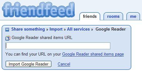 Friendfeed - Share Google Reader