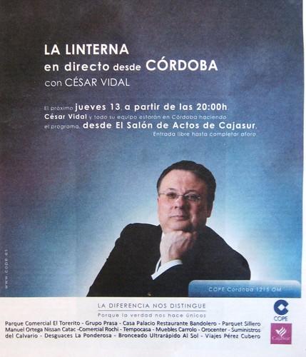 Cesar Vidal  en Córdoba patrocinado por CajaSur.