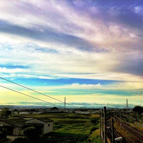 JR櫟本駅の空から。 #imasora #sunset