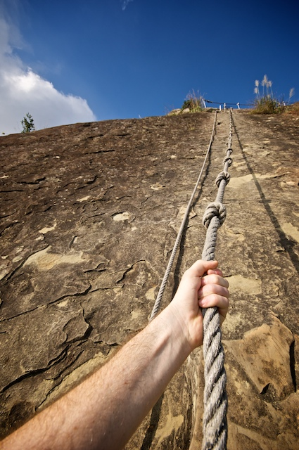 This is a POV look up a very long rope ladder from one of the main peaks of Wu Liao Jiao Mountain 五寮尖, near Taipei, Taiwan.
