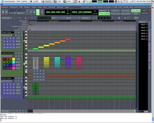 Three MIDI note coloring modes