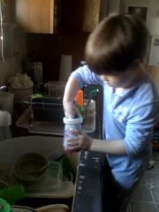 Zeke washing dishes