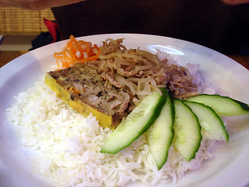 Shredded Pork and Crab Meat Cake on Rice