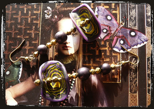 Orecchini viola giallo oro - Yellow gold purple earrings MEHNVGS