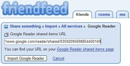 Friendfeed - Google Reader Added