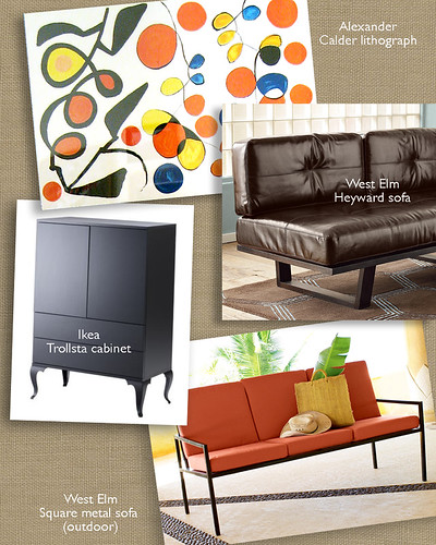 Living room design board.