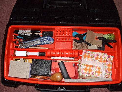 Inside tray of Bookbinding kit