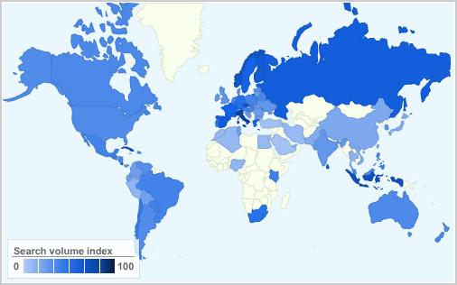 Ubuntu popularity map