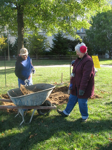 Lynne Lewis, Senior Archaeologist with the National Trust for Historic Preservation, monitoring the excavation activity.