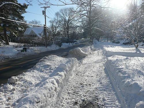 Plowed sidewalk