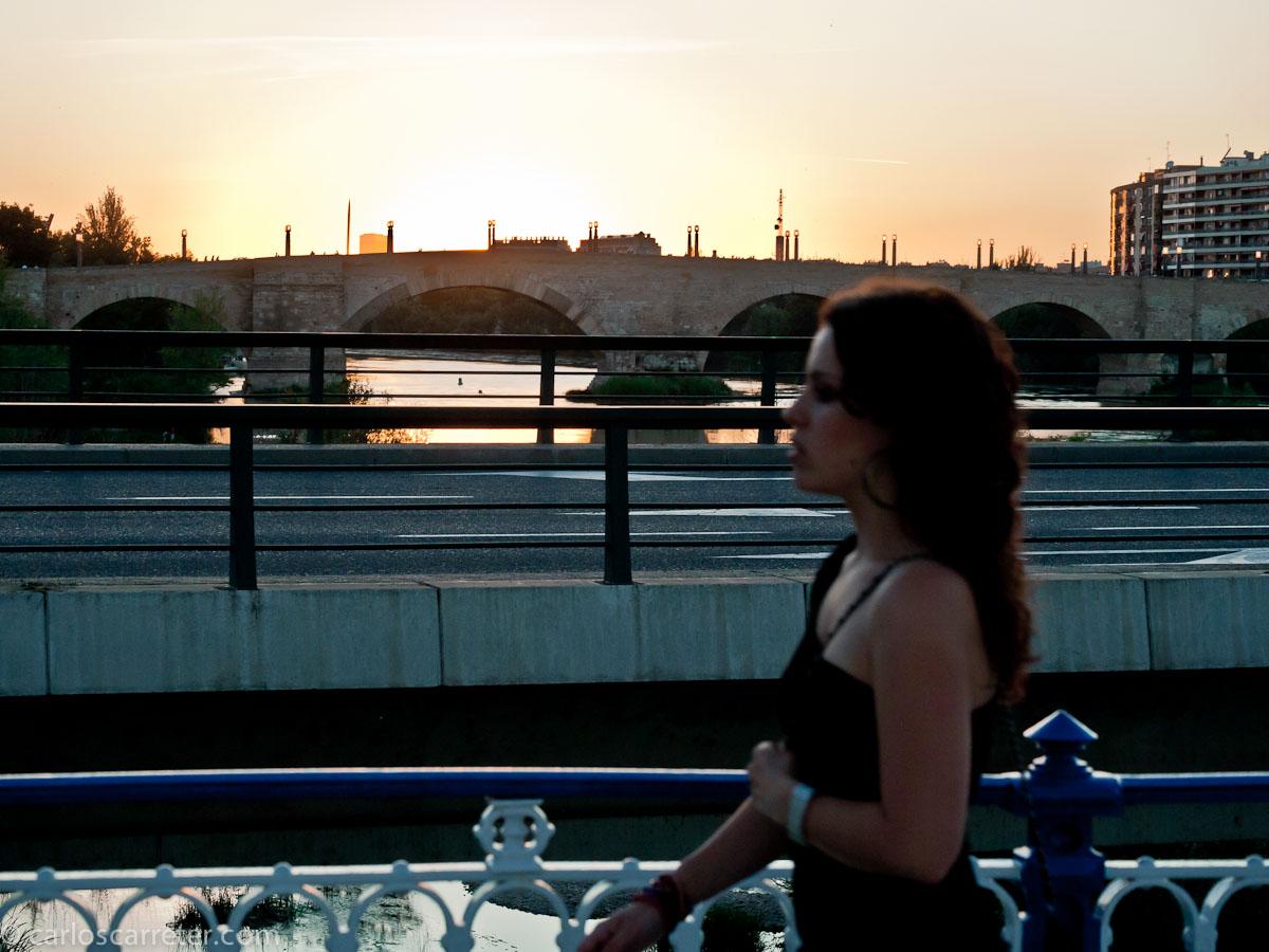 Atardecer junto al río Ebro