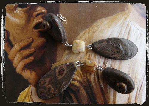 Orecchini marrone - Makume Gane Brown earrings MEHMKMM