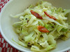 White cabbage with red chillies