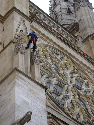 Cleaning years of grime off the cathedral.