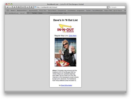 My In N' Out Web App
