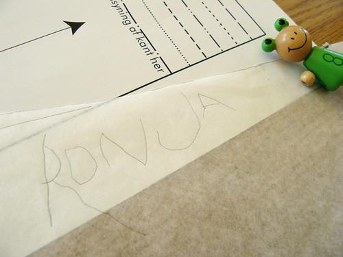 Writing her name