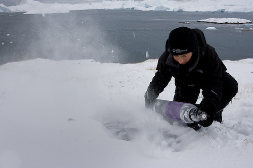 Francesca Galeazzi during her carbon emissions piece in The Arctic