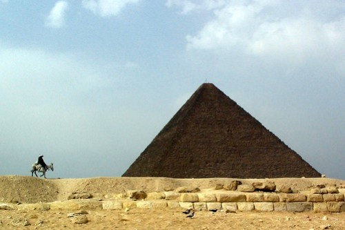 Esel vor Pyramide