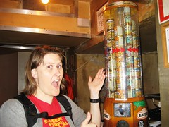 Carmen and a vending machine full of nuts, Craft Night, Notting Hill Arts Club