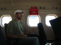 Gabriel in plane to Bahai.JPG