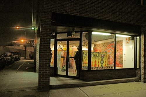 """A view of the opening reception of Factory Fresh's """"A Maze"""" exhibition"""