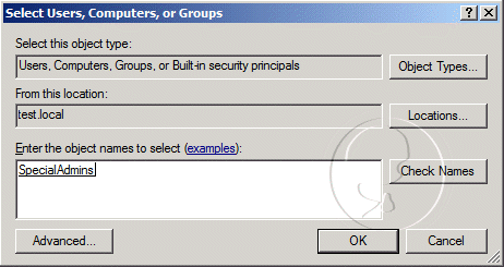 Select Users, Computers, or Groups