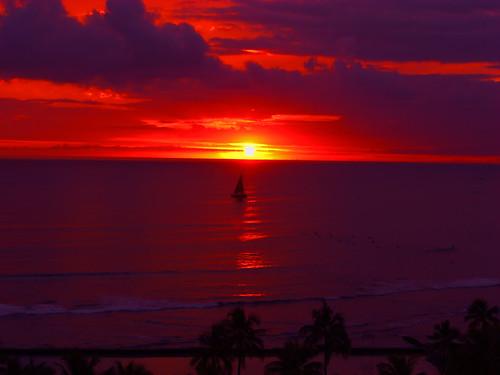 Sunset, Waikiki Beach, Hawaii