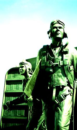 World War II Pilots, Naval Aviation Monument. (Fuji Provia 100F — Cross-Processed. Nikon F100. Epson V500.)