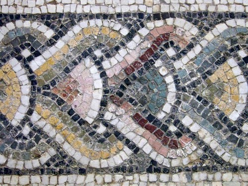 Ancient Roman glass and mosaic floor