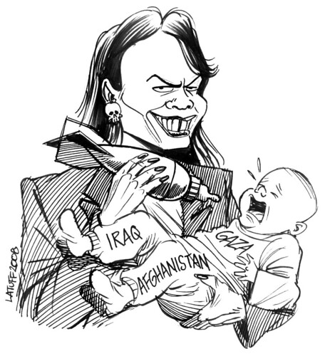 Latuff Condoleezza Rice birth pangs