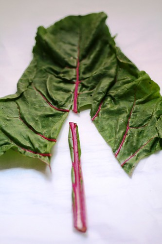 How to destem a leaf of swiss chard